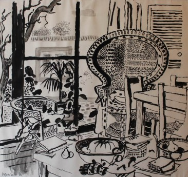 Alberto Morrocco, Interior at Bambra Road, 1981. Ink on paper. Courtesy Panter and Hall.
