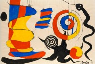 Alexander Calder,The yellow shock absorber, 1969, Gouache and Watercolour on Paper. Courtesy Gilden's Art Gallery.