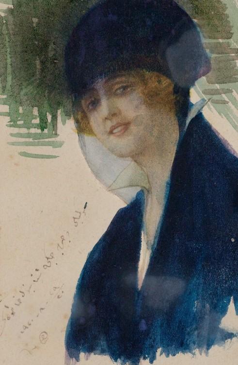 Mihri Müşfik, Otoportre,1920, karton üzerine suluboya