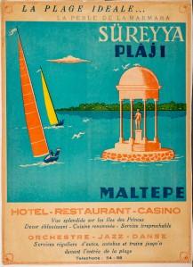 Süreyya Plajı reklamı, 1950'ler. Mehmet Aksel Arşivi.