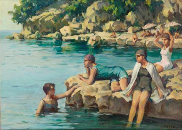 Melek Celal Sofu Moda Koyunda Kadınlar, Duralit üzerine yağlıboya, 53x71 cm. Özel koleksiyon.