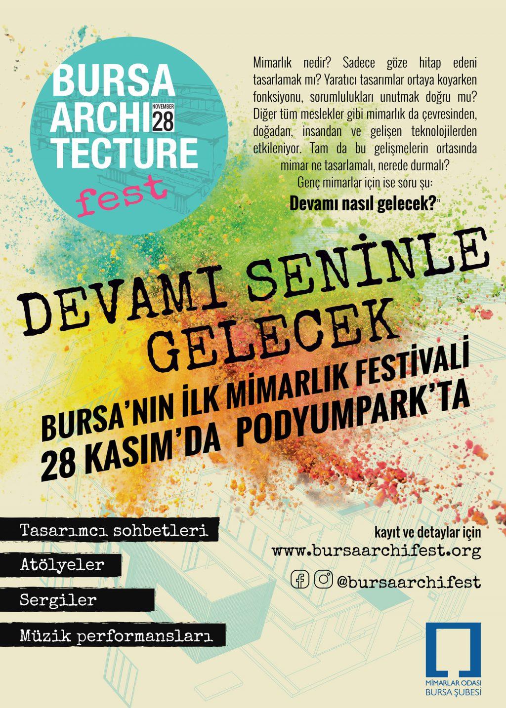 Bursa'nın İLK Mimarlık Festivali BURSA ARCHIFEST, 28 Kasım'da (Podyum Park)'ta…