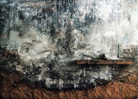 Hüseyin Aksoy, Yerin Göğün Altında, 2018, tuval üzerine karışık teknik, 183x138cm