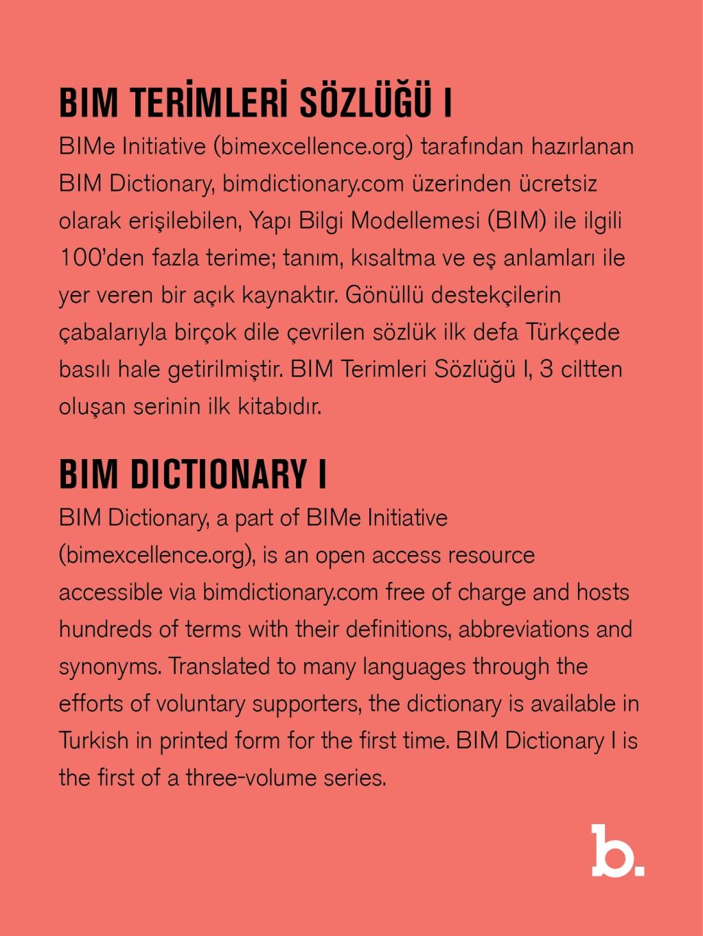 (b. kitap)'tan İKİNCİ Yayın: BIM Terimleri Sözlüğü I