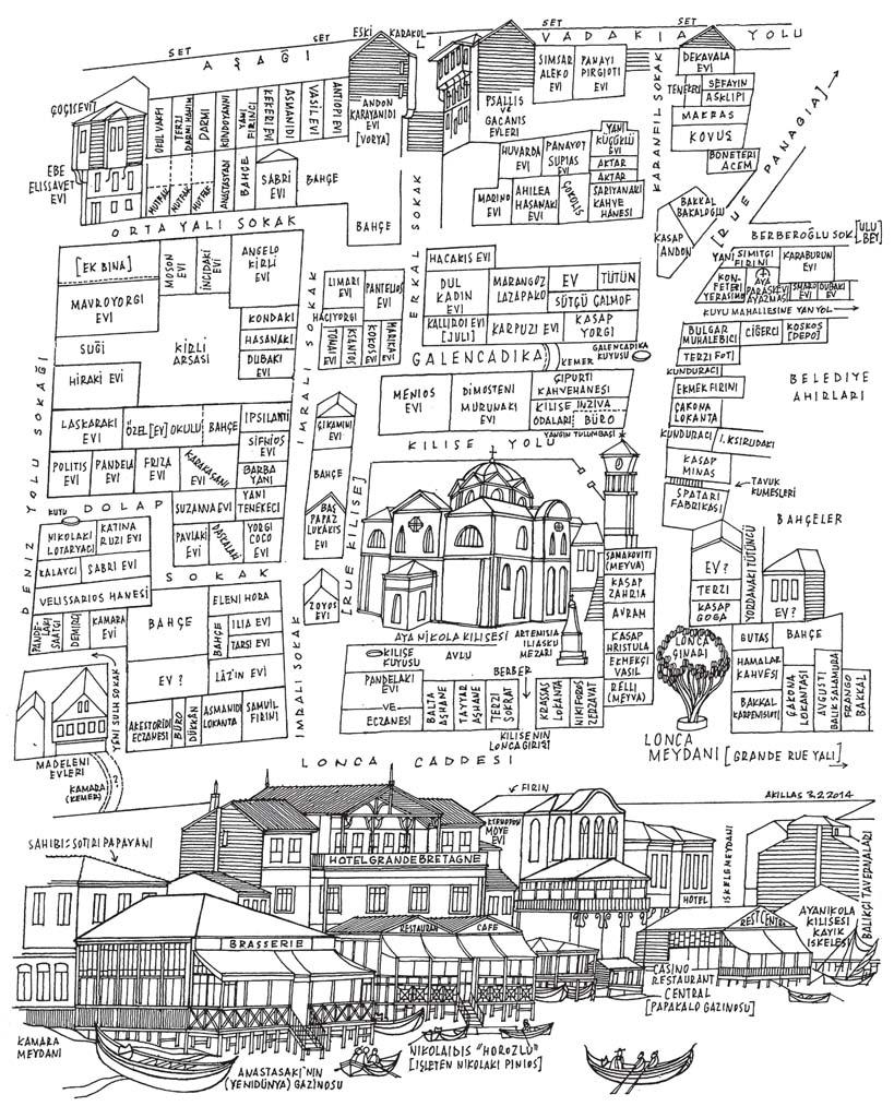 Kitaptaki Akillas Millas çizimlerinden biri: 1925 yangınından önce Aya Nikola Kilisesi civarı ile Lonca dükkan ve evleri.