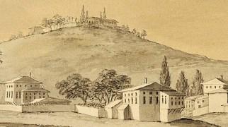1787-1788 arasında Konstantiniyye'yi ziyaret etmiş Ferdinand Bauer'in 6 suluboya tablosunda Heybeli köyü. Tepede Ruhban Okulu binalarının 1894 depreminden önceki hali.