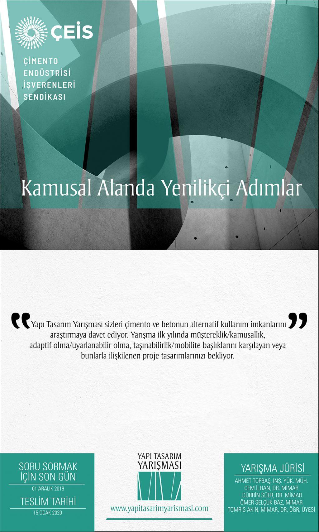 """(ÇEİS)'in Düzenlediği YAPI TASARIM YARIŞMASI Başlıyor: """"Kamusal Alanda Yenilikçi Adımlar"""""""
